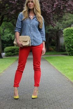 Patriotic Prelude: Chambray shirt and red denim