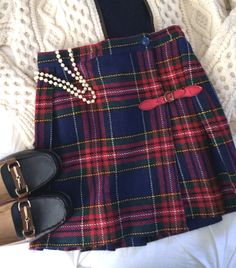 A great vintage find! Classic plaid will always be in style :) Loving the equestrian loafers too!  Www.hamptonivy.com
