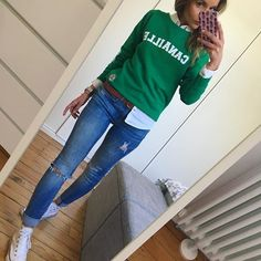 Love the green Mom Outfits, Chic Outfits, Fall Outfits, Fashion Outfits, Work Casual, Casual Chic, Casual Looks, Look Fashion, Autumn Fashion
