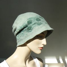 Felted Hat Wool Felt Hat Unique hand made green cap www.majorlaura.etsy.com