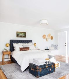 Emily Henderson_Target_Bed Styling_Styling to Sell_White_Blue_Leather_Gray_Guest Bedroom_3