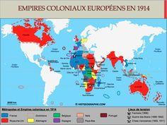 Carte des Empires coloniaux européens à la veille de la Première Guerre mondiale. Source: © HISTGEOGRAPHIE.COM