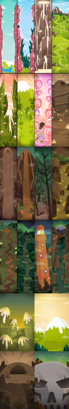 Monster, Adventures, environments, background, game, app, forrest, hill, illustration, mobile