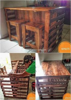You can repurpose the use of wood pallet for the ideal crafting of the kitchen island table through the custom design of the stools as the additional feature inside it. The trend of using wood pallet for the kitchen island manufacturing is becoming so muc Easy Woodworking Projects, Diy Pallet Projects, Woodworking Tools, Woodworking Furniture, Pallet Ideas For Home, Repurposed Wood Projects, Carpentry Projects, Woodworking Machinery, Bar En Palette