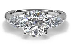 #Ritani Three-Stone Diamond Engagement Ring with Pear-Shaped Side-Diamonds
