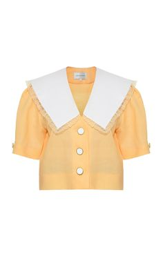Oversized Collar Linen Top by George Keburia Kpop Outfits, Retro Outfits, Girl Outfits, Weekly Outfits, Dress Design Patterns, Preppy Style, My Style, Korean Brands, Fashion Brand
