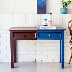 """""""Here is the before and after of my mid century style hall table makeover. Doesn't she look…"""""""
