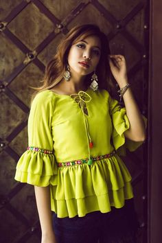 Lime Green Ruffled Top