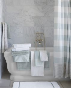 Fine Turkish cotton is a staple when it comes to bath textiles. This mat is no exception -- although it is exceptionally stylish and specially engineered with quick-drying cotton loops. Yarn-dyed stripes are a nice design detail. Guest Bathrooms, Bathroom Spa, Bathroom Towels, Bathroom Storage, Bath Towels, Small Bathroom, Bath Mat, Bathroom Ideas, Bath Ideas