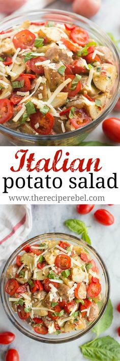 A fun new twist on classic Potato Salad! This Creamy Italian Potato Salad is filled with spinach, pesto, tomatoes, roasted red peppers and Parmesan cheese, it's perfect alongside grilled chicken or at any picnic! http://www.thereciperebel.com/creamy-italian-potato-salad/
