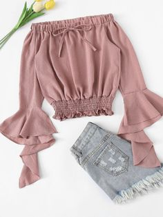 Shop Off Shoulder Flounce Sleeve Shirred Hem Top online. SHEIN offers Off Shoulder Flounce Sleeve Shirred Hem Top & more to fit your fashionable needs. Crop Top Outfits, Preppy Outfits, Teen Fashion Outfits, Casual Winter Outfits, Cute Summer Outfits, Look Fashion, Spring Outfits, Girl Fashion, Black Outfits