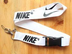 Nike Lanyard Key Chain ID Strap White Black ☆FREE USA SHIPPING ☆NEW