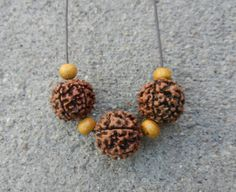 Rudraksha seed and wooden bead necklace healing by PureLapis