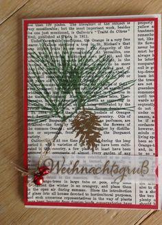 Stampin'Up Weihnachtskarte, Kiefernzweig, Tannenzapfen,