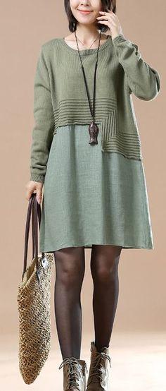 Green new patter knit sweaters plus size knit dresses woman