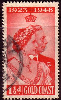 Gold Coast 1948 Royal Silver Wedding SG 147 Fine Used    SG 147 Scott 142    Condition  Fine UsedOnly one post charge applied on multipul purchases
