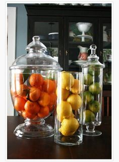 Bring in some of the beautiful vibrant colors of spring and summer but filling up those jars with all different kinds of fruits.  Set them out in the kitchen as a centerpiece or just to spruce up the island or counters.