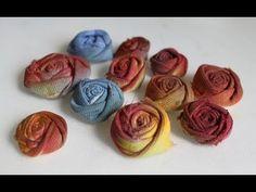 Riciclo creativo Tutorial fiori tessuto: come trasformare un paio di pantaloni in rose - YouTube