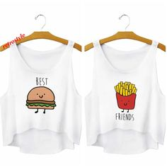 Ladies best friends crop top tank top women fashion tshirt bff emoji... ($22) ❤ liked on Polyvore