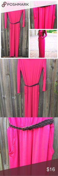 Bohemian long-sleeve pink Maxi Dress NEW BOUTIQUE REPOSH. Super cute but doesn't fit me. Too small. This is a medium but would best fit a 0-4. And no taller then a 5.5 TOPS or it won't hit the floor. I am a size 6 and 5.5 and it was too small. Super pretty, wish it fit me! 😭😭😭 Dresses Maxi