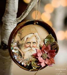 If you love covering your home in vintage crafts every Christmas, then we have one of the most incredible Christmas ornaments to make. This Old Man Winter Jar Lid Ornament is as stunning, especially nice for people who enjoy detailed ornament crafts. Vintage Christmas Crafts, Paper Christmas Ornaments, Vintage Ornaments, Vintage Crafts, Xmas Crafts, Christmas Projects, Christmas Decorations, Diy Ornaments, Diy Crafts
