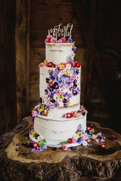 Semi-naked wedding cake with cascading fresh edible flowers from Maddocks Farm O… - Vegan Wedding Cake Naked Wedding Cake, Vegan Wedding Cake, Wedding Cake Fresh Flowers, Fresh Flower Cake, Wedding Cake Rustic, Cool Wedding Cakes, Beautiful Wedding Cakes, Wedding Cake Toppers, Beautiful Cakes