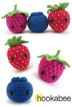Amigurumi Berry patterns (raspberry, blueberry, strawberry) by @hookabee