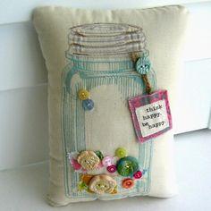 Mason Jar Pillow Button Pillow Appliqued Pillow by tracyBdesigns