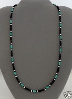 "Black & Turquoise Men's Women's Beaded Necklace Tribal - Native American - - Black & Turquoise Men's Women's Beaded Necklace Tribal – Native American art Schwarz, Türkis Herren, Damen Perlenkette ""- Native American Made-Rita Stone Jewelry, Diy Jewelry, Beaded Jewelry, Jewelery, Handmade Jewelry, Jewelry Necklaces, Jewelry Design, Jewelry Making, Beaded Bracelets"