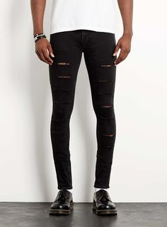 Charcoal Ripped Spray On Skinny Jeans - TOPMAN