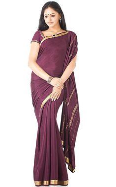 deep brown gold border Mysore silk