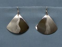 Silver fan.Fabricated jewelry.Texture silver drop.Engraved earring.Surface texture.Brushed earring.Artisan design.Fancy silver drop.