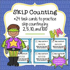 Here's a set of task cards for skip counting by 2, 5, 10, and 100.