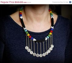 ON SALE Zulu Necklace African Necklace Coin by HeriniaJewelry