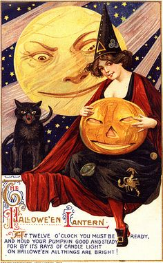 """""""At twelve o'clock you must be ready and hold your pumpkin good and steady; for, by its rays of candle light on Halloween all things are bright!"""""""