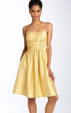 Allure A-line Knee-length Strapless Sleeveless Satin Party Dresses - Semi-Formal Dresses - Wedding Dresses