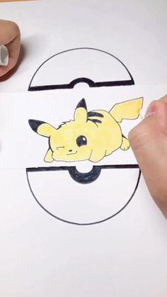 The steps of Pikachu's drawing Cute Animal Drawings Kawaii, Cute Easy Drawings, Cute Cartoon Drawings, Art Drawings For Kids, Art Drawings Sketches Simple, Kawaii Drawings, Drawing Ideas Kids, Cute Animals To Draw, Cute Drawings Of Animals