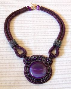 Statement Beadwork Bead Embroidery Pendant Necklace with Violet Agate - SATURN - purple - grey - hematite
