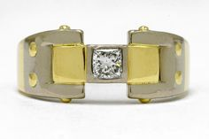 Dashing Diamond Men's Ring Vintage Art Deco Cartier Style Wedding Band Solitaire Man-Gagement Princess Cut Yellow Gold Accent White Size 12 by BellaRosaGalleries on Etsy https://www.etsy.com/listing/268519511/dashing-diamond-mens-ring-vintage-art