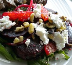 Roasted beet salad - substituted goat cheese for reduced fat feta and toasted walnuts. Next time I  would use additional balsamic. Yummy