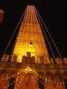 Christmas light on Asinelli tower, Bologna, province of Bologna Emilia Romagna