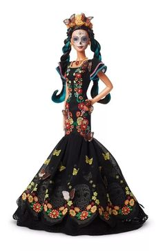Celebrate with a collectible Barbie Dia De Muertos Doll featuring an embroidered dress and a sugar skull painted face. Explore more signature dolls at our Barbie Shop today! Drop Dead Gorgeous, Beautiful Hair Color, Beautiful Dolls, Mattel Barbie, Barbie Dolls, Doll Stands, Barbie Collector, Doll Repaint, Monarch Butterfly