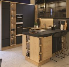 Nature and equipped kitchen CLARA concrete by Cuisines Ixina Source by djibril_lili Houseboat Kitchen, Kitchen Cabinet Design, Small Kitchen Storage, Kitchen Decor, Diy Kitchen Cabinets Makeover, Kitchen Room Design, Home Kitchens, Modern Kitchen Design, Kitchen Design