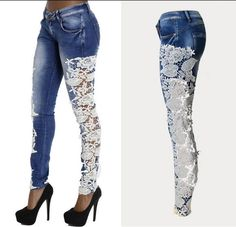Lace Patchwork Hollow Skinny Straight High Waist Jeans