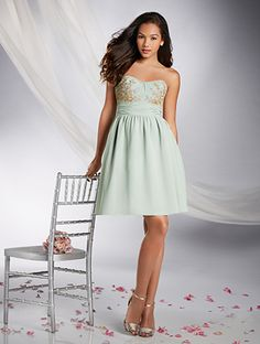 Alfred Angelo Style Chiffon bridesmaid dress features mirroring lace motifs  on the strapless bodice - My dress for Chrissy s wedding but I ll get it in  the ... 04c254e56dec