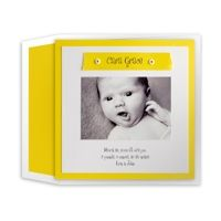 Yellow Name Strip Photo Birth Announcement by Luscious Verde