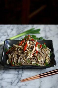 Cold Sesame Soba Noodle Salad with Cabbage Slaw