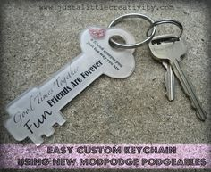Just a little Creativity: Easy Custom Keychain Using NEW Podgeable Acrylic Shapes from Mod Podge
