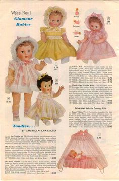 1960 ADVERTISEMENT American Character Brand Glamour Baby Doll Toodles