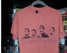 Stand by Me t-shirt 80s movie stencil art spray painted by Rainbow Alternative on Etsy